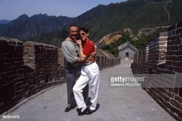 Yves et Véronique Mourousi sur la Muraille de Chine à Pékin le 6 juin 1988 Chine