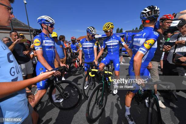 Yves Lampaert of Belgium and Team Deceuninck - Quick-Step / Dries Devenyns of Belgium and Team Deceuninck - Quick-Step / Julian Alaphilippe of France...