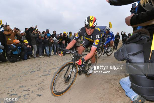 Yves Lampaert of Belgium and Team Deceuninck-QuickStep / Cobblestones / Gravel Strokes / Fans / Public / during the 117th Paris-Roubaix a 257km race...