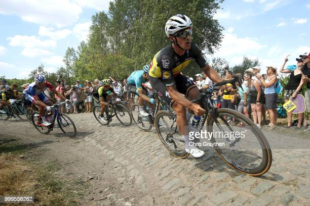 Yves Lampaert of Belgium and Team QuickStep Floors / Adam Yates of Great Britain and Team MitcheltonScott / ont Thibault a Ennevelin Cobbles Sector 1...