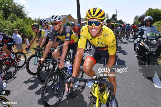Yves Lampaert of Belgium and Team Quick-Step Floors / Greg Van Avermaet of Belgium and BMC Racing Team Yellow Leader Jersey / during the 105th Tour...