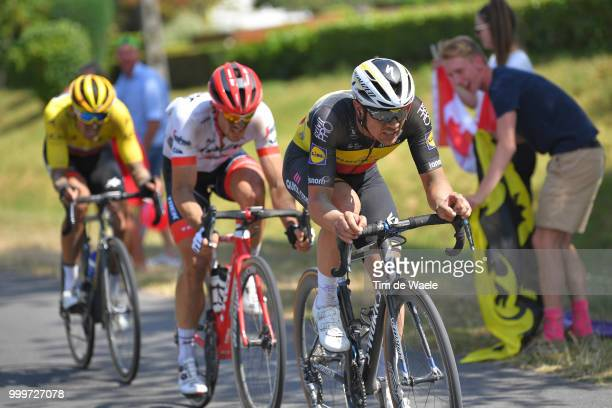 Yves Lampaert of Belgium and Team QuickStep Floors / Greg Van Avermaet of Belgium and BMC Racing Team Yellow Leaders Jersey / John Degenkolb of...