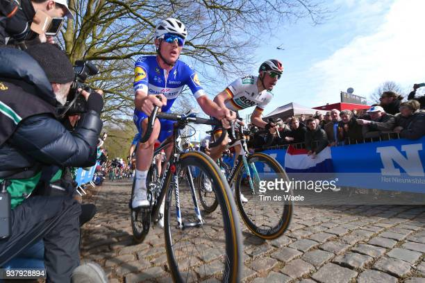 Yves Lampaert of Belgium and Team QuickStep Floors / Marcus Burghardt of Germany and Team Bora Hansgrohe / during the 80th GentWevelgem In Flanders...
