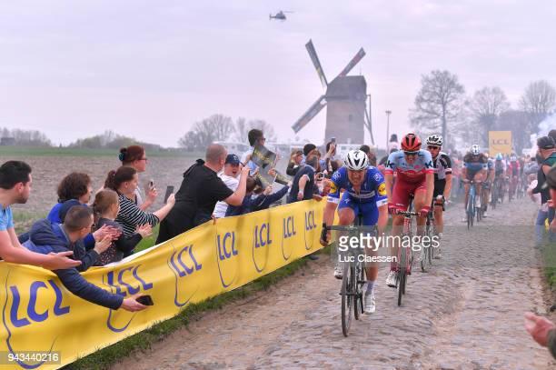Yves Lampaert of Belgium and Team QuickStep Floors / Nils Politt of Germany and Team Katusha Alpecin / Pave Cobblestones / Windmill / Templeuve /...