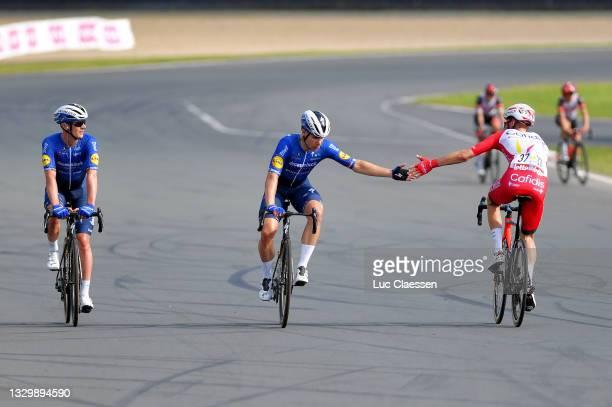 Yves Lampaert of Belgium, Fabio Jakobsen of Netherlands and Team Deceuninck - Quick-Step stage winner & Kenneth Vanbilsen of Belgium and Team Cofidis...