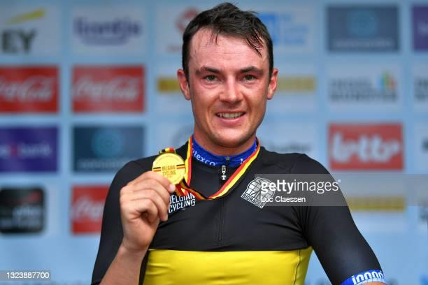 Yves Lampaert of Belgium Gold Medal Belgian Champion Jersey celebrates at podium during the 122th Belgian Road Championship 2021 - Men's Individual...