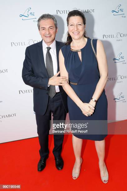 Yves Levy and his wife Agnes Buzyn attend Line Renaud's 90th Anniversary on July 2 2018 in Paris France