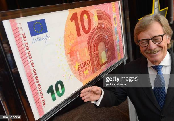 Yves Mersch member of the Executive Board of the European Central Bank presents the new 10 euro banknote in the ECB headquarters in Frankfurt Main...