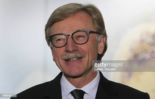 Yves Mersch member of the Executive Board of the European Central Bank speaks during the presentation of the new 20 Euro banknote at the ECB...