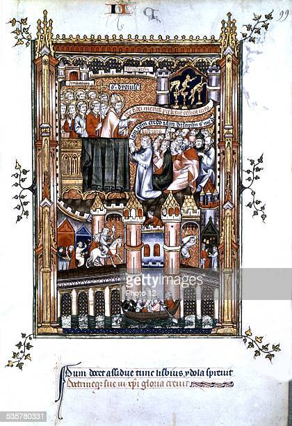 Life of St Denis Copy offered in 1317 to Philip the Tall Predication by St Denis On the bridge a silvesmith a falconer a porter an armourer Early...
