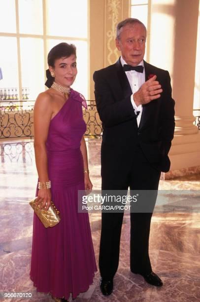 Yves Montand et sa femme Carole Amiel au Festival du Cinéma Américain de Deauville en septembre 1990 France