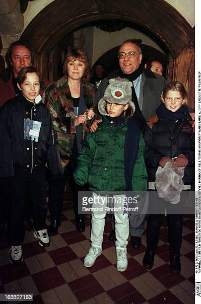 Yves Mourousi, Sophie Mourousi, Marie-Laure Augry at premiere of 'Bossu De Notre Dame' at the Rex in Paris.