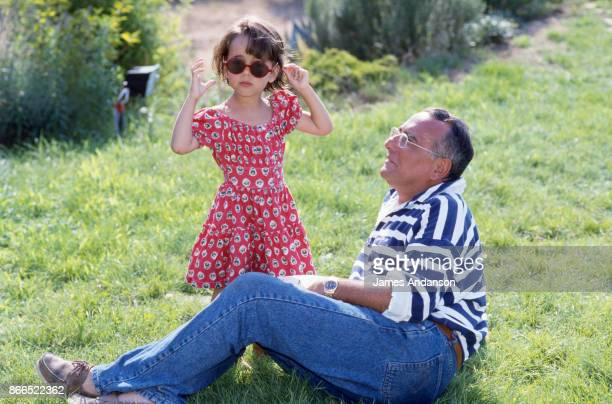 Yves Mourousi with his daughter Sophie at home in Gassin near Saint Tropez in July 1990