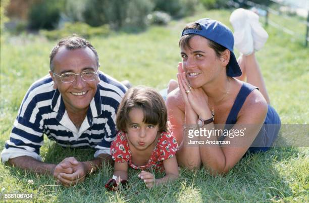 Yves Mourousi with his wife, Veronique and daughter Sophie at home in Gassin, near Saint Tropez, in July 1990