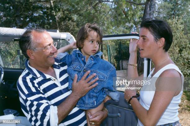Yves Mourousi with his wife Veronique and daughter Sophie at home in Gassin near Saint Tropez in July 1990