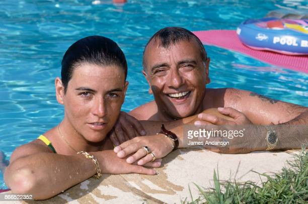 Yves Mourousi with his wife Veronique at home in Gassin near Saint Tropez in July 1990