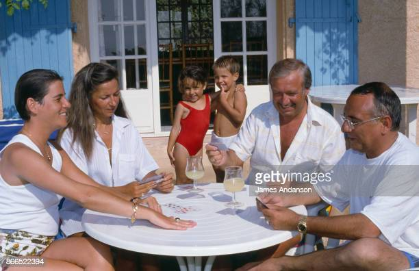 Yves Mourousi with his wife Veronique his daughter Sophie and president of stallholders Marcel Campion his wife and his son at home in Gassin near...