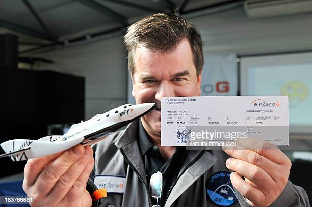 Yves Pleindoux one of the civilian passengers of the Airbus A330 ZeroG who are not astronauts nor scientists poses with his boarding pass on March 15...