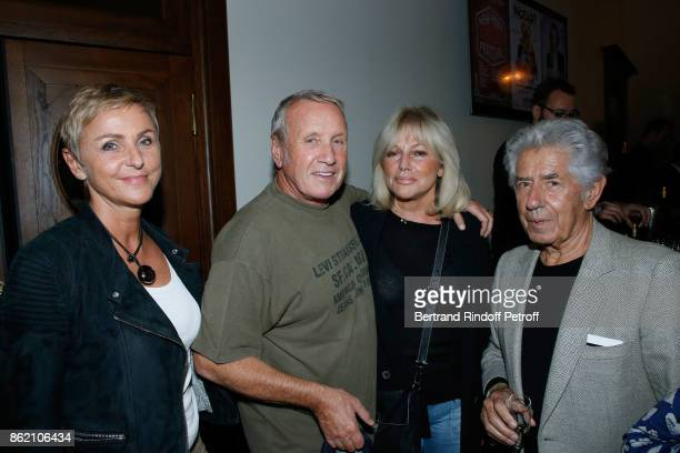Yves Renier with his wife Karin and Philippe Gildas with his wife Maryse attend the One Woman Show by Christelle Chollet for the Inauguration of the...