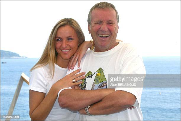 Yves Renier with his wife Karine in Monaco on July 02, 2002.