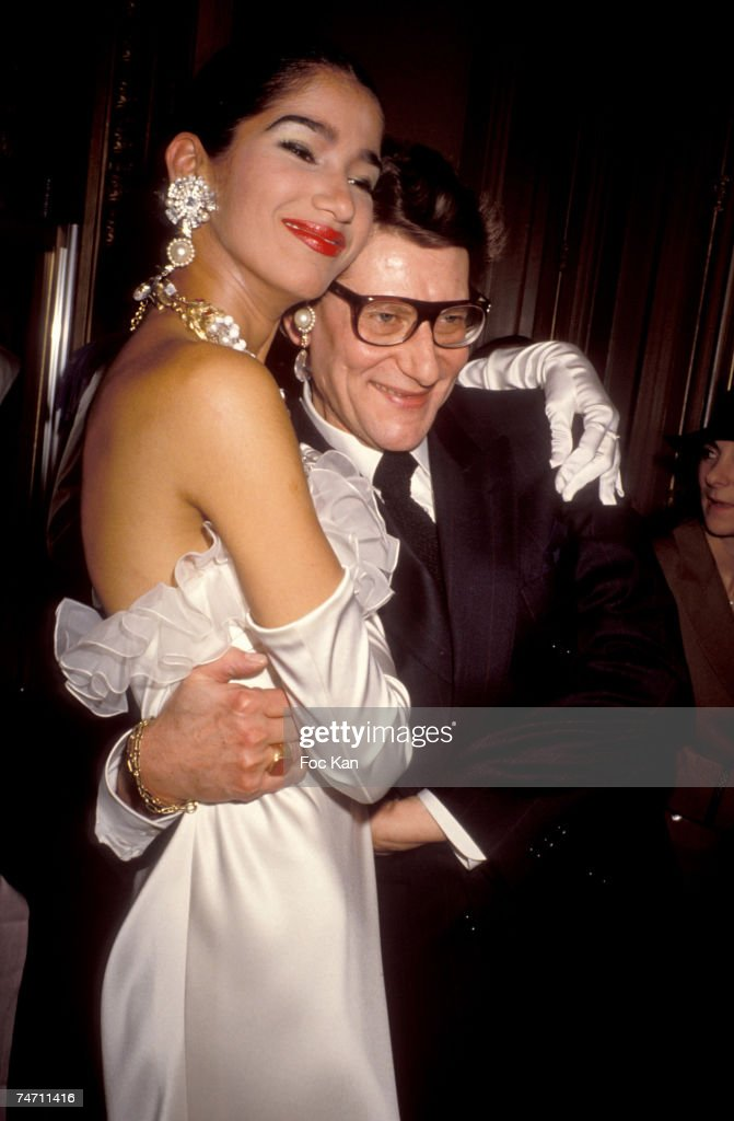 Yves Saint Laurent And Bride At The Miro Exhibition Pompidou Center Museum In Paris France