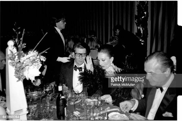 Yves Saint Laurent, Countess Jacqueline de Ribes, and Bill Blass at the Costume Institute's Met Ball Benefit held at the Metropolitan Museum of Art....