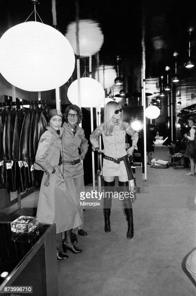 Yves Saint Laurent designer pictured inside his first London Rive Gauche store on New Bond Street London opening day of boutique and with muses...