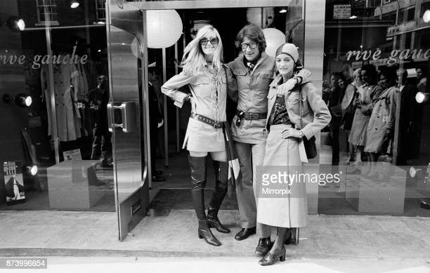 Yves Saint Laurent designer pictured outside his first London Rive Gauche store on New Bond Street London opening day of boutique and with muses...