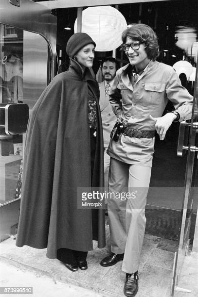 Yves Saint Laurent designer pictured with muse Louise de La Falaise aka Loulou outside his first London Rive Gauche store on New Bond Street London...