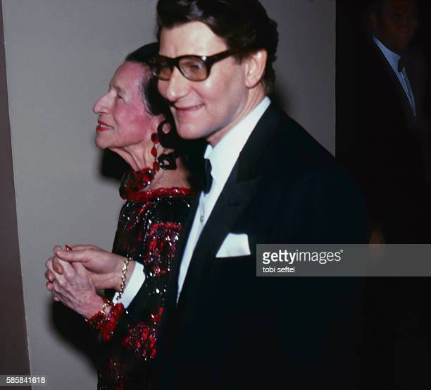 Yves Saint Laurent fashion designer with Diana Vreeland consultant to the'The Party of the Year'at Metropolitan Museum's Costume InstituteNYCFashion...