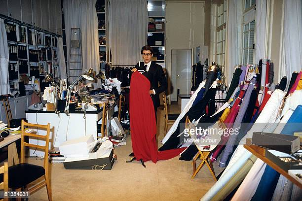 Yves Saint Laurent in his workshop in 1982 in Paris France