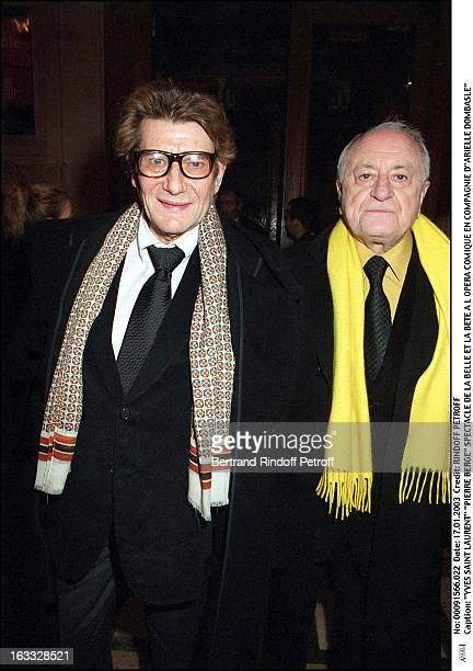Yves Saint Laurent Pierre Berge play of Beauty and the Beast at the Comic opera of Paris along with Arielle Dombasle
