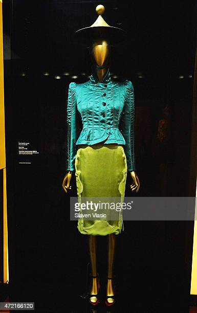Yves Saint Laurent Tom Ford Ensemble fall/winter 200405 jacket and skirt on display at 'China Through the Looking Glass' press preview at the Temple...