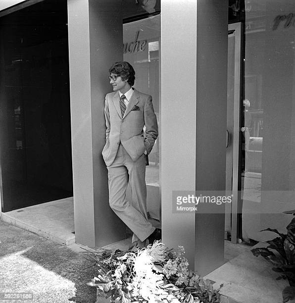 Yves St Laurent pictured outside his new boutique in the Rue de Tournon on the left bank Paris 26th September 1966 W8856