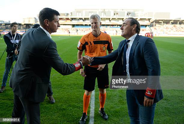 Yves Vanderhaeghe Head Coach of KV Oostende and Glen De Boeck Head Coach of Royal Excel Mouscron pictured during Jupiler Pro League match between KV...