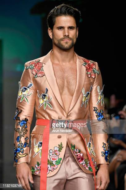 YvesLen Unser walks the runway wearing Kenneth Barlis at Los Angeles Fashion Week FW/19 Powered by Art Hearts Fashion at The Majestic Downtown on...