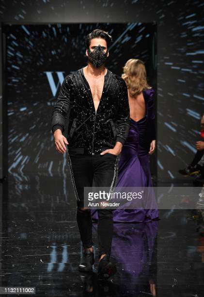 Yves-Len Unser walks the runway wearing Willfredo Gerardo at Los Angeles Fashion Week FW/19 Powered by Art Hearts Fashion at The Majestic Downtown on...