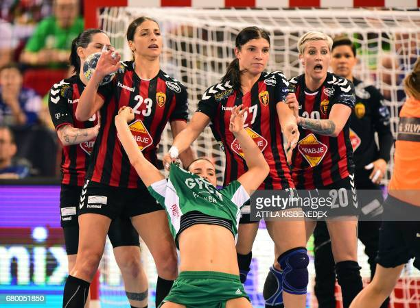 Yvette Broch of Hungarian Gyor Audi ETO fights with defenders of Macedonian HK Vardar during the final match of the EHF Women's Champions League...