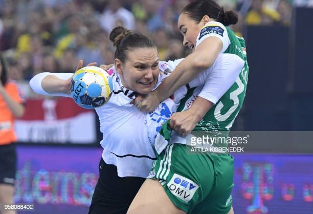 Yvette Broch of Hungarian Gyor Audi ETO vies with Dragana Cvijic of Macedonian HK Vardar during the final match of the EHF Women's Champions League...