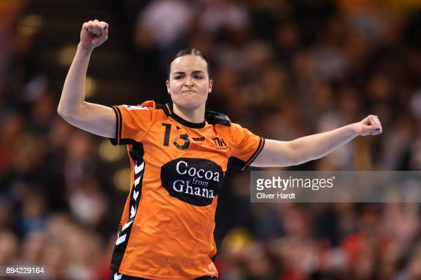 Yvette Broch of Netherlands celebrate after scoring during the IHF Women's Handball World Championship 3rd place match between Netherlands and Sweden...