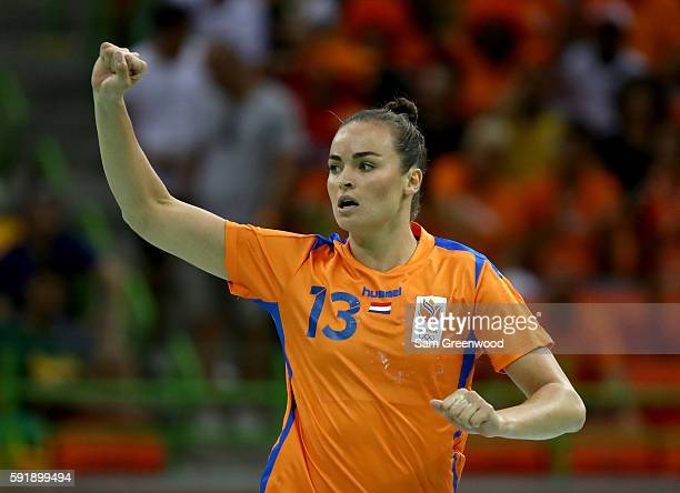 Yvette Broch of Netherlands celebrates a goal during the Women's Handball Semifinal match against France at the Future Arena on Day 13 of the 2016...