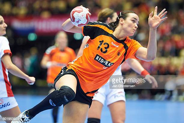 Yvette Broch of Netherlands in action during the 22nd IHF Women's Handball World Championship Semi Final match between Netherlands and Poland in...