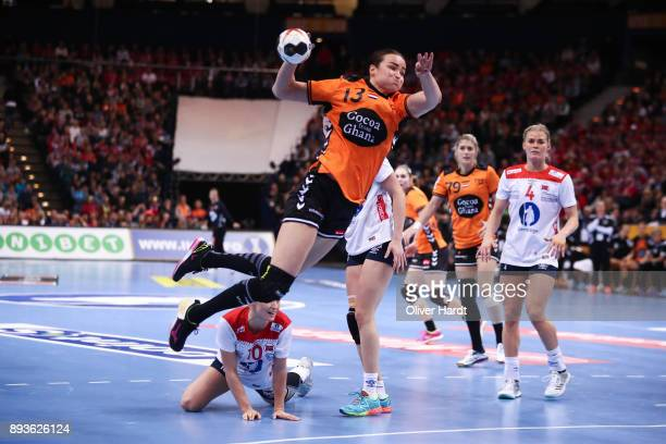 Yvette Broch of Netherlands in action during the Championship Semi Final between match between Netherlands and Norway at Barclaycard Arena on...