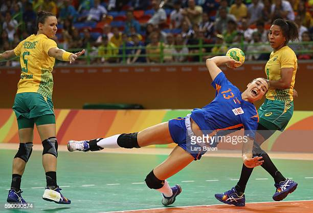 Yvette Broch of Netherlands in action during the Womens Quarterfinal match between Brazil and Netherlands on Day 11 of the Rio 2016 Olympic Games at...