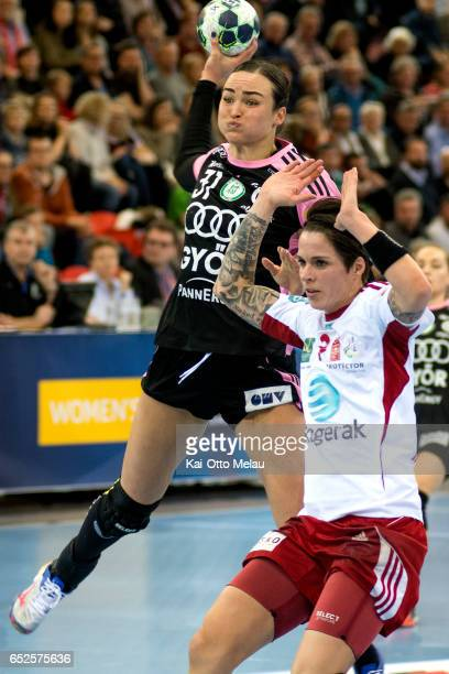 Yvette Broch shoots in the game between Larvik HK and Gyori Audi ETO KC on March 12 2017 in Larvik Norway