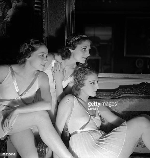 Yvette Chauvire Genevieve Kergrist and Lycette Darsonval French dancers Anna of Noailles official reception Paris FrenchComedy June 1937 LIP114360001