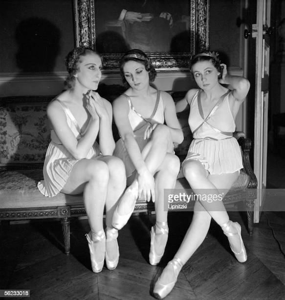 Yvette Chauvire Genevieve Kergrist and Lycette Darsonval French dancers Anna of Noailles official reception Paris FrenchComedy June 1937 LIP114360003