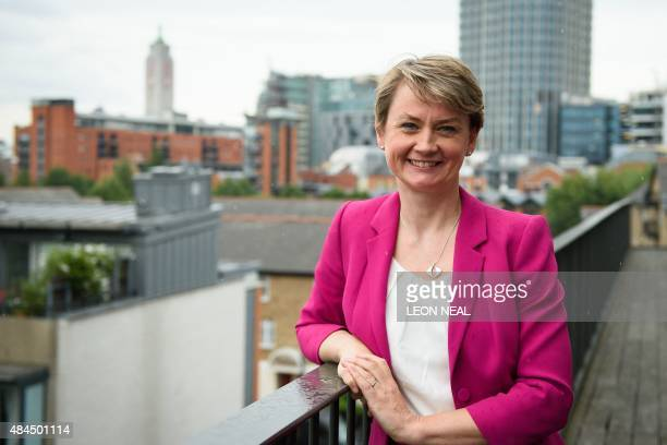 Yvette Cooper Labour Party MP for Normanton Pontefract and Castleford and candidate for the Labour party leadership poses before a campaign event in...