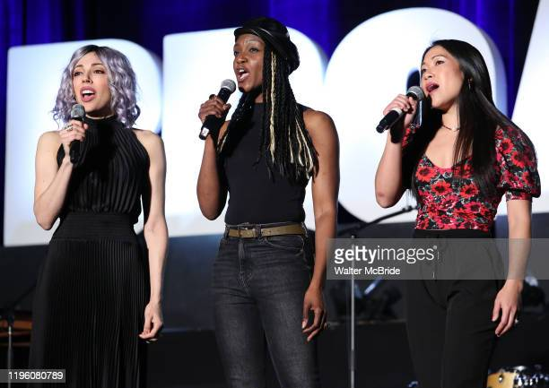 """Yvette Gonzalez-Nacer, Jewelle Blackman and Kay Trinadad from """"Hadestown"""" during the BroadwayCon 2020 First Look at the New York Hilton Midtown Hotel..."""