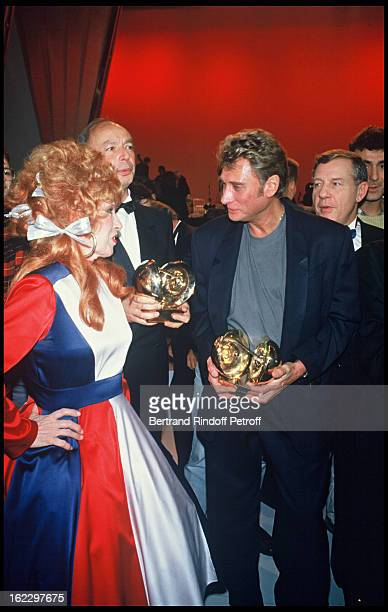 Yvette Horner and Johnny Hallyday at the Victoires de la Musique French Music Awards Ceremony 1987